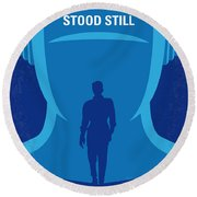 No514 My The Day The Earth Stood Still Minimal Movie Poster Round Beach Towel