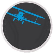 No535 My North By Northwest Minimal Movie Poster Round Beach Towel by Chungkong Art