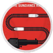No585 My Butch Cassidy And The Sundance Kid Minimal Movie Poster Round Beach Towel