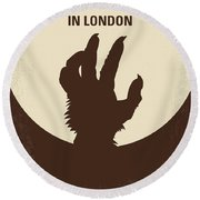 No593 My American Werewolf In London Minimal Movie Poster Round Beach Towel
