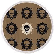 No662 My The Skulls Minimal Movie Poster Round Beach Towel