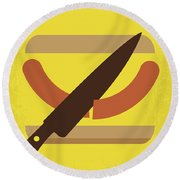 No704 My Sausage Party Minimal Movie Poster Round Beach Towel