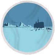No711 My Ice Station Zebra Minimal Movie Poster Round Beach Towel