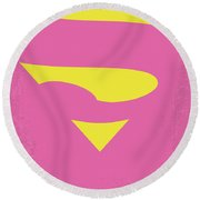 No720 My Supergirl Minimal Movie Poster Round Beach Towel