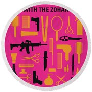 Round Beach Towel featuring the digital art No743 My You Dont Mess With The Zohan Minimal Movie Poster by Chungkong Art