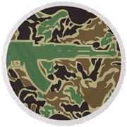 Round Beach Towel featuring the digital art No747 My Heartbreak Ridge Minimal Movie Poster by Chungkong Art
