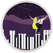 Round Beach Towel featuring the digital art No756 My La La Land Minimal Movie Poster by Chungkong Art