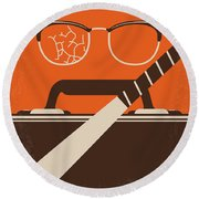 No768 My Falling Down Minimal Movie Poster Round Beach Towel