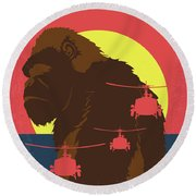 No799 My Skull Island Minimal Movie Poster Round Beach Towel
