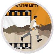 No806 My The Secret Life Of Walter Mitty Minimal Movie Poster Round Beach Towel