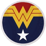 No825 My Wonder Woman Minimal Movie Poster Round Beach Towel
