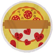 No846 My Mystic Pizza Minimal Movie Poster Round Beach Towel