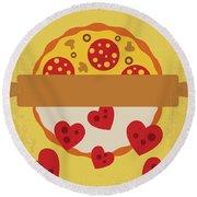 No846 My Mystic Pizza Minimal Movie Poster Round Beach Towel