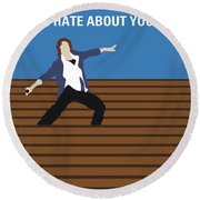 No850 My 10 Things I Hate About You Minimal Movie Poster Round Beach Towel