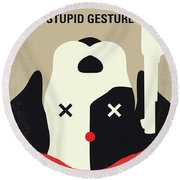 No893 My A Futile And Stupid Gesture Minimal Movie Poster Round Beach Towel