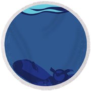 No912 My Into The Blue Minimal Movie Poster Round Beach Towel