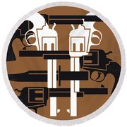 No916 My Young Guns Minimal Movie Poster Round Beach Towel