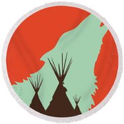 No949 My Dances With Wolves Minimal Movie Poster Round Beach Towel