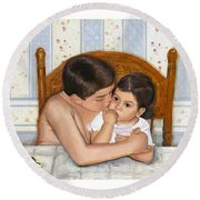 Round Beach Towel featuring the painting Noah Takes Time For Kira by Marlene Book