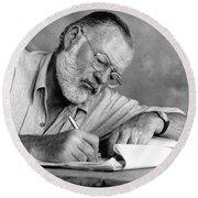 Nobel Prize Winning Author Ernest Hemingway No Date Round Beach Towel