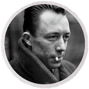 Nobel Prize Winning Writer Albert Camus Paris, France, 1944 -2015 Round Beach Towel
