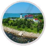 Nobska Lighthouse Round Beach Towel