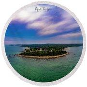 Nobska Lighthouse Panorama Round Beach Towel
