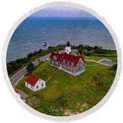 Nobska Point Lighthouse Round Beach Towel