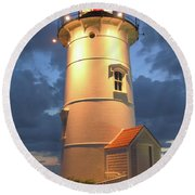 Round Beach Towel featuring the photograph Nobska Point Lighthouse by Roupen  Baker