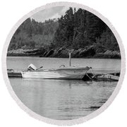Round Beach Towel featuring the photograph Noca Scotia In Black And White  by Trace Kittrell
