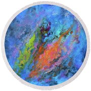 Nocturne Nebula Abstract Painting Round Beach Towel