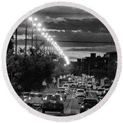 Round Beach Towel featuring the photograph Noir City by Beto Machado