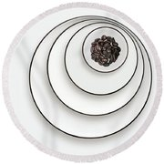 Round Beach Towel featuring the photograph Nonconcentric Dishware And Coffee by Joe Bonita