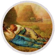 Round Beach Towel featuring the photograph Noonday Rest by John Kolenberg