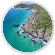 Round Beach Towel featuring the photograph Noosa National Park Aerial View by Keiran Lusk