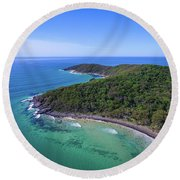 Round Beach Towel featuring the photograph Noosa National Park Coastal Aerial View by Keiran Lusk