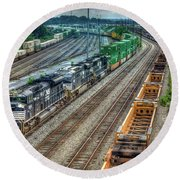 Round Beach Towel featuring the photograph Norfolk Southern Locomotive #2665 Atlanta Inman Intermodal Yard Art by Reid Callaway