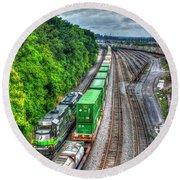 Round Beach Towel featuring the photograph Norfolk Southern Locomotive 648 Atlanta Train Art by Reid Callaway