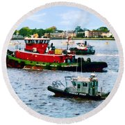 Norfolk Va - Police Boat And Two Tugboats Round Beach Towel