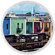 Norfolk Va - Train With Two Locomotives Round Beach Towel