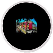 Norm Laknes Train Station Round Beach Towel by Thom Zehrfeld