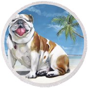 Norma Jean The Key West Puppy Round Beach Towel