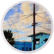 Round Beach Towel featuring the painting Normal Ave by Andrew Danielsen