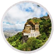 Norman Castle On Mount Erice - Sicily Italy Round Beach Towel