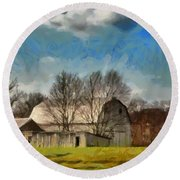 Round Beach Towel featuring the mixed media Norman's Homestead by Trish Tritz
