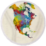 North America Continent Watercolor Map Round Beach Towel