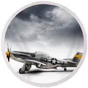 Round Beach Towel featuring the digital art North American P-51 Mustang by Douglas Pittman