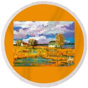 Round Beach Towel featuring the painting North Bank Of The White Oak River by Jim Phillips