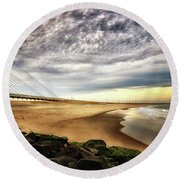 North Beach At Indian River Inlet Round Beach Towel