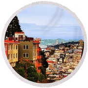 North Beach, San Francisco Round Beach Towel